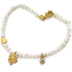 Gold-Plated Sterling Silver Pearl Bracelet