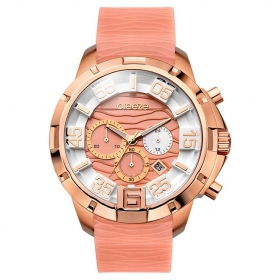 BREEZE Tropical Affair Chrono Rose Gold Light Pink Rubber Strap