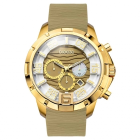 BREEZE Tropical Affair Chrono Gold Brown Rubber Strap
