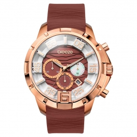 BREEZE Tropical Affair Chrono Rose Gold Brown Rubber Strap