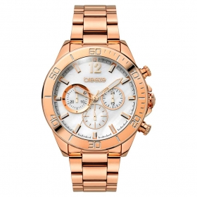 BREEZE Trinity Lux Chrono Rose Gold Stainless Steel Bracelet