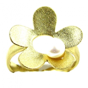 Gold-Plated Silver 925 Ring with Pearl